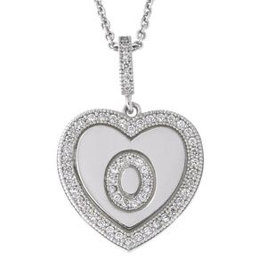 Letter O Initial Heart CZ Pendant Sterling Silver